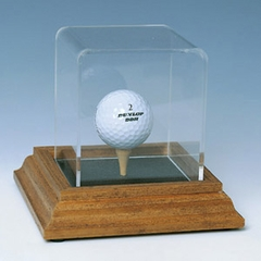 Single Golf Ball Display Case with Natural Color Base