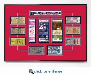 St Louis Cardinals 11 Time World Series Champions Tickets to History - Replica Ticket Frame