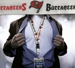 Tampa Bay Buccaneers NFL Lanyard Key Chain and Ticket Holder - White