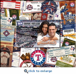 Texas Rangers 8 x 8 Scrapbook - Ticket & Photo Album