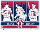 Trout, Pujols, and Hamilton Sports Propaganda Handmade LE Screen Print - Los Angeles Angels