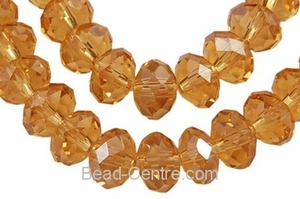 "12x8mm Topaz Crystal Faceted Rondelle 72 Beads (approx.24"")"