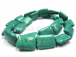 15x20mm Green Turquoise Puff Rectangle Beads 15.5""