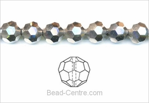 "4mm Metallic Silver Crystal Faceted Round 100 Beads (approx.15"")"