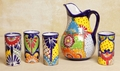 Mexican Pottery | Talavera Pitcher and 4 Glasses