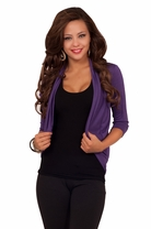 3/4 Sleeve Fitted Jersey Waist Length Stretch Bolero Shrug Casual Cardigan Wrap