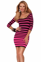 3/4 Sleeve Seamless Square Neckline Stripe Fitted Color Pop Club Party Dress