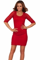 3/4 Sleeves Crochet Lace Bodycon Party Sexy Classic Round Neckline Mini Dress