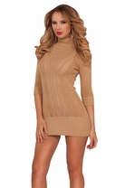 3/4 Sleeves Open Cable Stitch Sweater Winter Seasonal Turtleneck Sexy Dress
