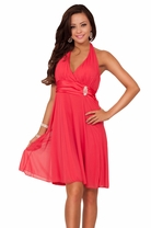 Adjustable Halter Empire Waist Backless Rhinestone Bridesmaid Party Short Dress