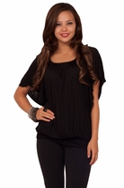 Tunic Style Butterfly Sleeve Drop Waist Hem Peasant Neckline Chic Blouse Top