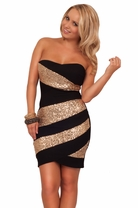 Asymmetrical Sexy Strapless Sequins Mini Party Cocktail Formal Party Dress