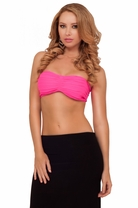 Bandeau Style Crinkle Design Bralette Sporty Active Casual Party Bikini Crop Top