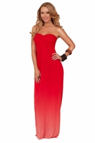 Bandeau Style Strapless Empire Waist Ombre Design Summer Beach Long Maxi Dress