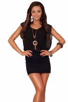 Bat Wing Sheer Sleeve Floral Lace Fitted Skirt With Necklace Club Short Dress