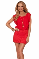 Bat Wing Sheer Sleeve Floral Lace Fitted Skirt With Necklace Party Mini Dress