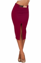 Belted Pencil Midi Mini Fitted Party Classy Cocktail Sexy Slit Fashion Skirt