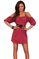 Shirt Dress Bare Shouldered Scoop Neck Tunic Top 3/4 Sleeve Casual Dress