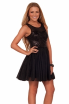 Black Junior Tutu Sparkle Sleeveless Homecoming Bridesmaid Party Dance Dress