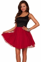 Black Sparkly Swan Tutu Puffy Party Dress with Rose Decoration Fun and Flirty