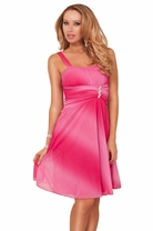 Bridesmaid Tie-dye Empire Waist Ruched Sleeveless Rhinestone Broche Mini Dress