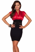Cap Sleeve V-Neck Hot Pencil Bottom Career Outfit Fitted Knee Length Mini Dress