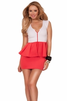 Cap Sleeve V-neck Zip Up Front Peplum Hight Contrast Fitted Cocktail Party Dress