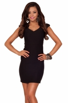 Cap Sleeve Vintage Inspired Fitted Office Business Casual Short Mini Dress
