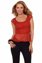 Casual Cap Sleeve Scoop Neck X-strap Back Exposure Lace Cropped Peplum Chic Top