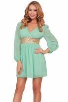 Chic Deep V-neck Bishop Sleeve Empire Waist Sequins Sundress Elegant Short Dress