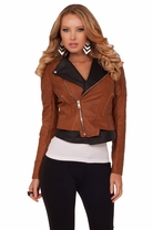 Chic Faux Leather Slanted Zipper Semi Puff Shoulder Two-toned Fitted Moto Jacket