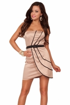 Chic New Satin Strapless Evening Fitted Sexy Party Bridesmaid Short Mini Dress
