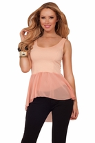 Chic Scoop Neck Sleeveless Cropped Fitted Sheer Peplum Asymmetrical High Low Top