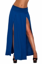 Chic Sexy Comfy Laid Back Boho High Slits Jersey Bohemian Soft Long Maxi Skirt