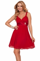 Chic Sleeveless Bridesmaid V-neck Triangle Styled Bust Empire Waist Mini Dress