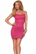 Chic Strapless Sweetheart Lace Fitted Pull Up Evening Party Elegant Party Dress