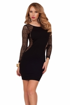 Cocktail Sexy Long Sleeve Mesh Panel Fitted Classy Clubwear Mini Party Dress