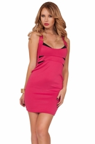 Color Block Bodycon Fitted Cross Back Cocktail Sexy Clubwear Mini Party Dress