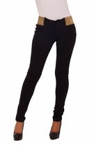 Cotton Glitter Trim Elastic Waist Stretch Fitted Leggings Skinny Scuba Pants