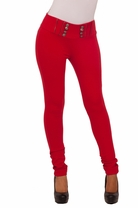 Cotton Moto Zipper Elastic Waist Stretch Fitted Leggings Skinny Scuba Pants