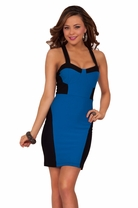 Criss Cross Soft Color Block Fitted Mini Cocktail Bodycon Bustier Party Dress