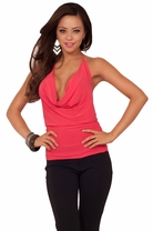 Cropped Brazen Halter Draped Cowl Neck Design Backless Casual Sexy Party Top