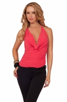 Cropped Brazen Halter Draped Cowl Neck Design Backless Sexy Edgy Party Top