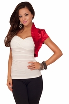 Cropped Cap Puff Sleeves Ruffle Casual Shrug Bolero Evening Party Silky Jacket