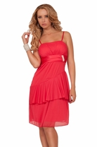 Dainty Spaghetti Strap Layered Empire Waist Rhinestone Broche Embellished Dress