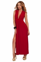 Deep V Cut Sleeveless Double Slit Maxi Party Special Occasion Trendy Sexy Dress