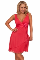 Deep V-Neck Line Adjustable Halter Empire Waist Bridesmaid Party Short Dress