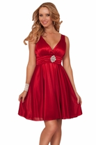 Deep V-Neck Padded Bust Empire Waist Silky Bridesmaid Evening Party Short Dress