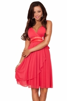 Deep V-Neck Removable Rhinestone Brooch Sheer Layer Bridesmaid Party Short Dress