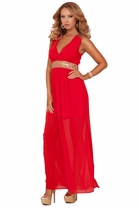 Deep V-neck Sequins Embellished Fancy Empire Waist Sheer Party Long Maxi Dress